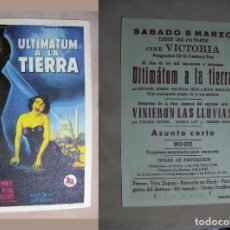 Cine: PROGRAMA DE CINE ULTIMATUM A LA TIERRA PUBLICIDAD CINE VICTORIA. Lote 142279086