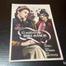 Cine: PROGRAMA DE MANO ORIG - EL MISTERIO DE FISKE MANOR - CINE DE ALCIRA. Lote 142292686