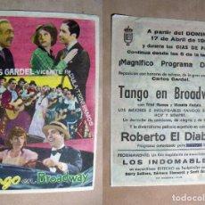 Cine: PROGRAMA DE CINE TANGO EN BROADWAY CARLOS GARDEL 1960. Lote 142338486