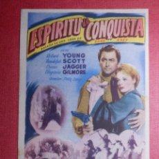 Cine: FOLLETO DE MANO - ESPÍRITU DE CONQUISTA - SALÓN ROYALTY - SANTANDER - 9 DE ENERO DE 1949 . Lote 142365958