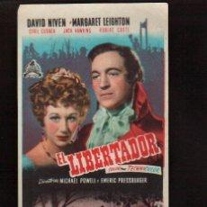 Cine: FOLLETO ORIGINAL- EL LIBERTADOR AÑO 1950 -VER FOTOS QUE NO TE FALTE EN TU COLECCION . Lote 142398674
