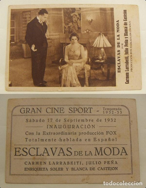 PROGRAMA TARJETA DE CINE ESCLAVAS DE LA MODA 1932 PUBLICIDAD GRAN CINE SPORT (Cine - Folletos de Mano - Comedia)