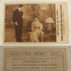 Folhetos de mão de filmes antigos de cinema: PROGRAMA TARJETA DE CINE ESCLAVAS DE LA MODA 1932 PUBLICIDAD GRAN CINE SPORT. Lote 142447562