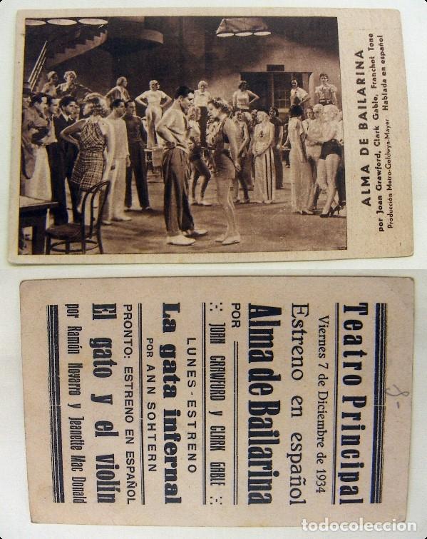 PROGRAMA TARJETA DE CINE ALMA DE BAILARINA 1934 PUBLICIDAD TEATRO PRINCIPAL (Cine - Folletos de Mano - Musicales)