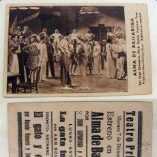 Cinema - PROGRAMA TARJETA DE CINE ALMA DE BAILARINA 1934 PUBLICIDAD TEATRO PRINCIPAL - 142486870
