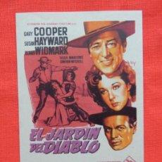 Folhetos de mão de filmes antigos de cinema: EL JARDIN DEL DIABLO, IMPECABLE SENCILLO, GARY COOPER, CON PUBLI MONTERROSA. Lote 142579678