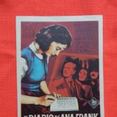 Cine: EL DIARIO DE ANA FRANK, IMPECABLE SENCILLO, MILLIE PERKINS, CON PUBLI BARTRINA 1960. Lote 142747098