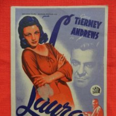 Cine: LAURA, IMPECABLE SENCILLO, GENE TIERNEY, CON PUBLI KURSAAL 1946. Lote 142748326