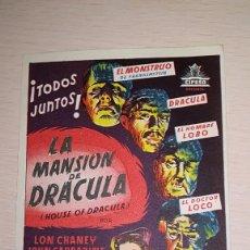 Cine: PROGRAMA DE CINE LA MANSION DE DRACULA. Lote 142782086