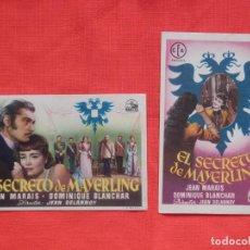 Cine: EL SECRETO DE MAYERLING, 2 IMPECABLES SENCILLOS, JEAN MARAIS, CON PUBLI C. APOLO T. BARTRINA 1952. Lote 142810574