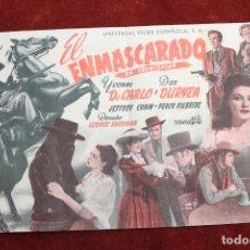Cine: PROGRAMA DE MANO DE CINE , PELICULA EL ENMASCARADO. Lote 143044718