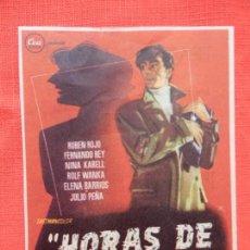 Folhetos de mão de filmes antigos de cinema: HORAS DE PANICO, IMPECABLE SENCILLO, RUBEN ROJO, CON PUBLI TEATRO BARTRINA 1957. Lote 143185018
