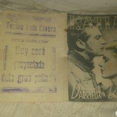 Cine: PROGRAMA DE CINE KATIA. TEATRO LUIS RIVERA. CINEMA ESPAÑA.. Lote 143212209