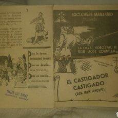 Cine: DON JUAN TENORIO, EL CASTIGADOR CASTIGADO. EMPRESA EXCLUSIVAS MANZANO. TEATRO LUIS RIVERA.. Lote 143217978