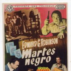 Cine: MARTES NEGRO. AÑO 1955. EDWARD G. ROBINSON, PETER GRAVES, JEAN PARKER.... Lote 143314210