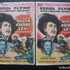 Cine: DODGE CIUDAD SIN LEY, ERROL FLYNN, VARIANTE DISTRIBUIDORA. Lote 143354426