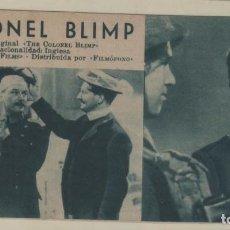 Cine: PELICULA CORONEL BLIMP FOLLETO DE MANO TIPO FICHA CON NÚMERO 230 DEBORAH KERR. Lote 143410114