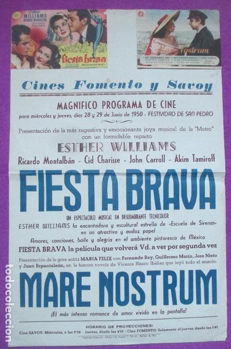 FOLLETO DE MANO, PROGRAMA CINE, FIESTA BRAVA, MARE NOSTRUM, CARTEL CON PROGRAMA (Cine - Folletos de Mano - Comedia)