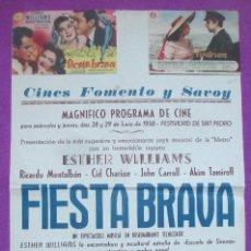 Cine: FOLLETO DE MANO, PROGRAMA CINE, FIESTA BRAVA, MARE NOSTRUM, CARTEL CON PROGRAMA. Lote 143610646