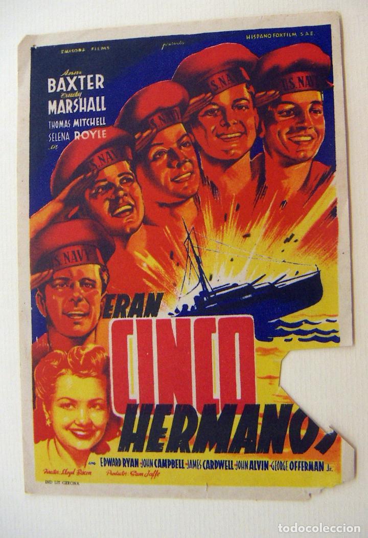 PROGRAMA DE CINE CINCO HERMANOS SIN PUBLICIDAD (Cine - Folletos de Mano - Bélicas)