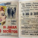 Cine: PROGRAMA DE CINE LA JAULA SIN SECRETOS PUBLICIDAD CINE VERANO PEDREGUER. Lote 143797186