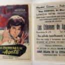 Cine: PROGRAMA DE CINE LOS CRIMENES DE AGATA PUBLICIDAD MUNDIAL CINEMA PEDREGUER. Lote 143797758