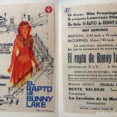 Cine: PROGRAMA DE CINE EL RAPTO DE BUNNY LAKE PUBLICIDAD CINE MUNDIAL Y MODERNO PEDREGUER. Lote 143854150