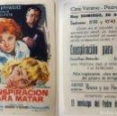Cine: PROGRAMA DE CINE CONSPIRACION PARA MATAR PUBLICIDAD CINE VERANO PEDREGUER. Lote 143855462
