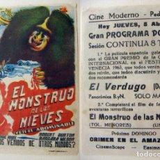 Cine: PROGRAMA DE CINE EL MONSTRUO DE LAS NIEVES PUBLICIDAD CINE MODERNO PEDREGUER RARISIMO. Lote 143864138