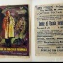Cine: PROGRAMA DE CINE DONDE EL CIRCULO TERMINA PUBLICIDAD CINE VERANO PEDREGUER. Lote 143875918