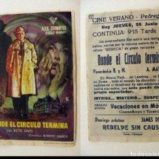 Cinema - PROGRAMA DE CINE DONDE EL CIRCULO TERMINA PUBLICIDAD CINE VERANO PEDREGUER - 143875918
