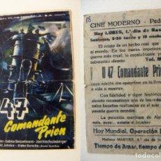 Cine: PROGRAMA DE CINE U 47 COMANDANTE PRIEN PUBLICIDAD CINE MODERNO PEDREGUER. Lote 143876666