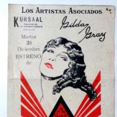 Cine: LA DANZARINA SAGRADA - GILDA GRAY - DOBLE CON PUBLICIDAD TEATRO KURSAAL DE ELCHE. Lote 143893218