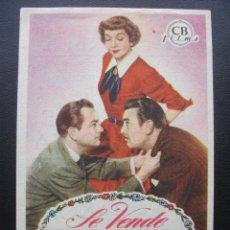 Cine: SE VENDE UNA NOVIA, CLAUDETTE COLBERT, CINE MUNDIAL, 1952. Lote 143896078