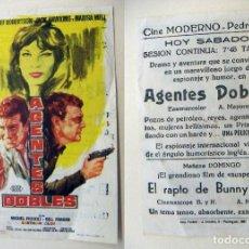 Cine: PROGRAMA DE CINE AGENTES DOBLES PUBLICIDAD CINE MODERNO PEDREGUER. Lote 143909286