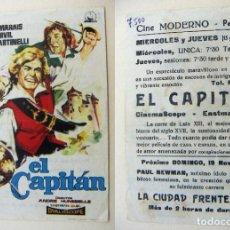 Cine: PROGRAMA DE CINE EL CAPITAN PUBLICIDAD CINE MODERNO PEDREGUER. Lote 143909898