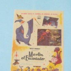 Cine: MERLIN EL ENCANTADOR - WALT DISNEY - CON PUBLICIDAD FOLLETO DE MANO ORIGINAL. Lote 143924074