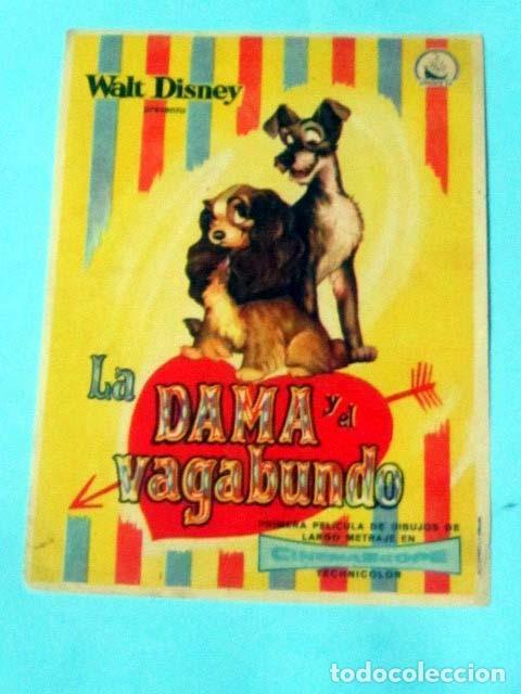 LA DAMA Y EL VAGABUNDO - WALT DISNEY - CON PUBLICIDAD FOLLETO DE MANO ORIGINAL (Cine - Folletos de Mano - Infantil)