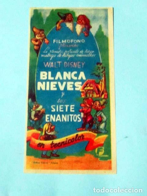 BLANCA NIEVES Y LOS SIETE ENANITOS -DOBLE CARA - WALT DISNEY - (Cine - Folletos de Mano - Infantil)
