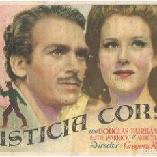 Cine: PROGRAMA DE CINE - JUSTICIA CORSA - DOUGLAS FAIRBANKS - CINE COLISEUM, GRANOLLERS, 1945. Lote 144057790