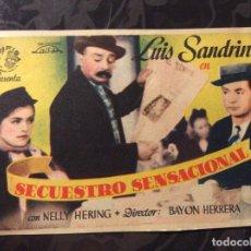 Cine: FOLLETO DE MANO SECUESTRO SENSACIONAL. SIN PUBLICIDAD . Lote 144161638