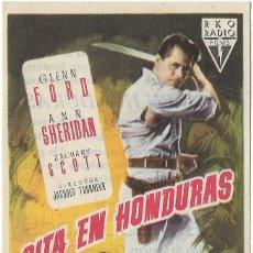 Cine: PROGRAMA DE CINE - CITA EN HONDURAS - GLENN FORD, ANN SHERIDAN - CINE MUNDIAL. Lote 144290922