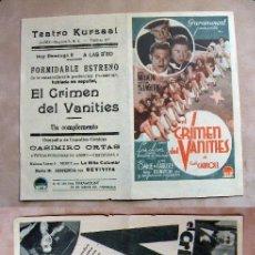 Cine: PROGRAMA DE CINE DOBLE EL CRIMEN DEL VANITIES PUBLICIDAD TEATRO KURSAAL ELCHE. Lote 144591494