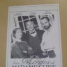 Cine: LOS MERITOS DE MADAME CURIE. Lote 144603090