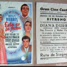 Cine: PROGRAMA DE CINE ESTA ES LA FECHA PUBLICIDAD 1946 GRAN CINE CENTRAL. Lote 144627458