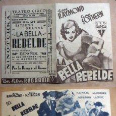 Cine: PROGRAMA DE CINE DOBLE LA BELLA REBELDE PUBLICIDAD TEATRO CIRCO. Lote 144765526