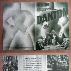 Cine: PROGRAMA DE CINE DOBLE DANTON SIN PUBLICIDAD . Lote 144767026