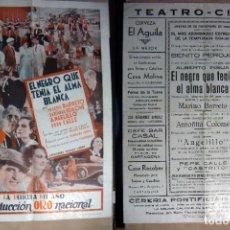 Folhetos de mão de filmes antigos de cinema: PROGRAMA DE CINE EL NEGRO QUE TENIA EL ALMA BLANCA PUBLICIDAD 1934 TEATRO CIRCO GRANDE 25X35 CM. Lote 144768550