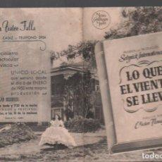 Cine: LO QUE EL VIENTO SE LLEVO - PROGRAMA DOBLE DE MGM CON PUBLICIDAD RF-1975 , BUEN ESTADO. Lote 145032286