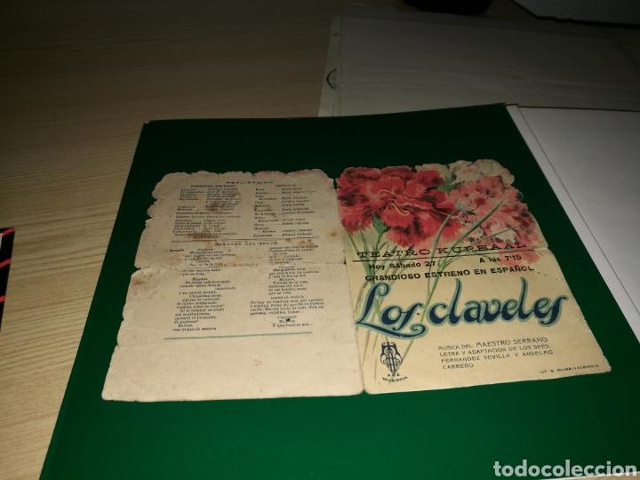 PROGRAMA DE CINE TROQUELADO. LOS CLAVELES. AÑOS 30.TEATRO KURSAAL DE ELCHE (Cine - Folletos de Mano - Musicales)